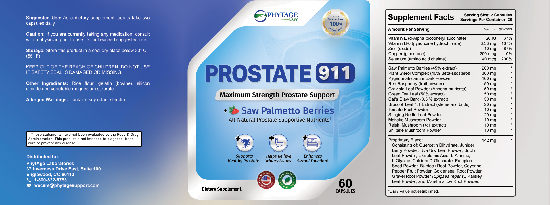 what are the ingredients in Prostate 911